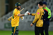 Dan Christian of Nottinghamshire fist bumps at the end of  the Vitality T20 Blast North Group match between Nottinghamshire County Cricket Club and Leicestershire County Cricket Club at Trent Bridge, Nottingham, United Kingdom on 4 September 2020.