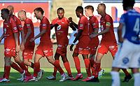 Fotball , 02. juli 2020 , Eliteserien  ,  Sarpsborg - Brann<br /> Gilbert Koomson , Brann scorer