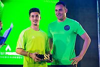 The winner of the 1vs1 tournament and the goalkeeper of Real Madrid Kaylor Navas during the presentation of the new Adidas shoes ACE 16 at the 1v1 tournament to find the boss of Madrid at the Museo del Ferrocarril in Madrid, March 09, 2016. (ALTERPHOTOS/BorjaB.Hojas)