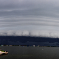 Andrew Knapp, FLORIDA TODAY -- July 15, 2011 -- A shelf cloud from a thunderstorm moves over the Indian River on Friday afternoon, as shown in this panoramic image taken on the Pineda Causeway.