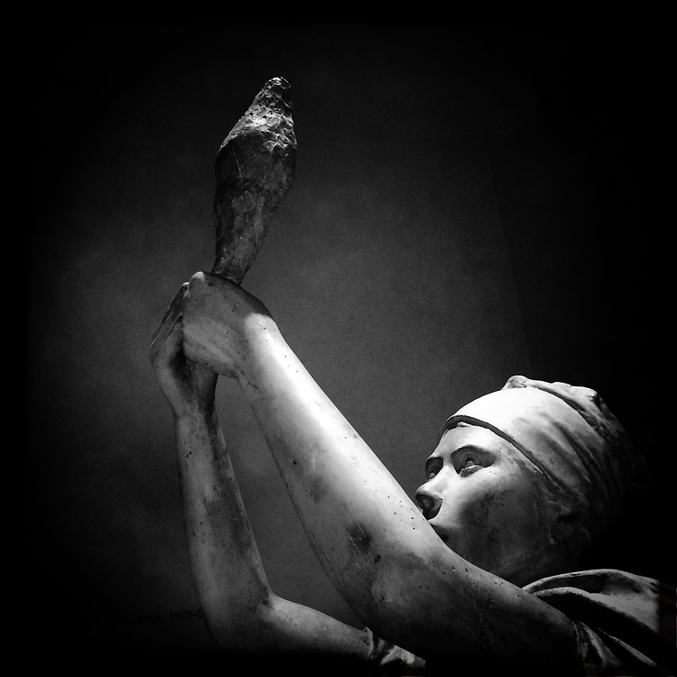 """""""The Spinner"""". Plaster sculpture by Italian sculptor Francesco Ciusa exhibited at Tribu museum in Nuoro (Sardinia), Italy. 2014."""