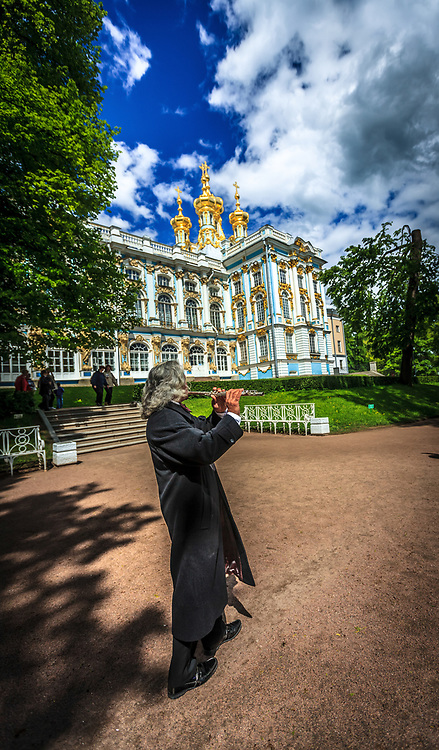The flutist in the park of The Catherine Palace in Tsarskoye Selo (Pushkin), Russia.