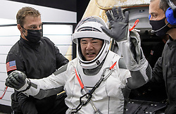 Japan Aerospace Exploration Agency (JAXA) astronaut Soichi Noguchi is helped out of the SpaceX Crew Dragon Resilience spacecraft onboard the SpaceX GO Navigator recovery ship after he, NASA astronauts Mike Hopkins, Shannon Walker, and Victor Glover, landed in the Gulf of Mexico off the coast of Panama City, Florida, Sunday, May 2, 2021. NASA's SpaceX Crew-1 mission was the first crew rotation flight of the SpaceX Crew Dragon spacecraft and Falcon 9 rocket with astronauts to the International Space Station as part of the agency's Commercial Crew Program. Photo by Bill Ingalls / NASA via CNP /ABACAPRESS.COM