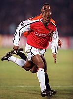 Sylvain Wiltord (Arsenal) Isaac Okoronkwo (Shakhtar Donetsk). Shakhtar Donetsk 3:0 Arsenal, UEFA Champions League, Group B, Centralny Stadium, Donetsk, Ukraine, 7/11/2000. Credit Colorsport / Stuart MacFarlane.