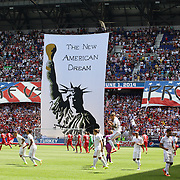 A banner unfolded before the US Men's National Team Vs Turkey friendly match at Red Bull Arena.  The game was part of the USA teams three-game send-off series in preparation for the 2014 FIFA World Cup in Brazil. Red Bull Arena, Harrison, New Jersey. USA. 1st June 2014. Photo Tim Clayton