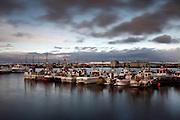 Near sunset at the port of Sandgerði on the Reykjanes Peninsula