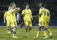 Photo: Aidan Ellis.<br /> Sheffield Wednesday v Cardiff City. Coca Cola Championship. 09/11/2005.<br /> Cardiff player congratlutae Cameron Jerome on his second goal and teams third
