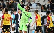 Goalkeeper of Lens Jean-Louis Leca celebrates with teammates the victory following the French championship Ligue 1 football match between RC Lens (Racing Club de Lens) and Paris Saint-Germain (PSG) on September 10, 2020 at Stade Felix Bollaert in Lens, France - Photo Juan Soliz / ProSportsImages / DPPI