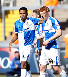 Rory Gaffney of Bristol Rovers celebrates his goal with Cristian Montano - Mandatory by-line: Robbie Stephenson/JMP - 16/04/2016 - FOOTBALL - Memorial Stadium - Bristol, England - Bristol Rovers v Yeovil Town - Sky Bet League Two