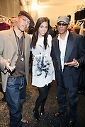 l to r: Solar, Sharon Carpenter, and Guru backstage at This Day/Arise Magazine: African Fashion Collective 2009 held at The Promenade at the 2009 Fall Fashion Week at Bryant Park, NYC