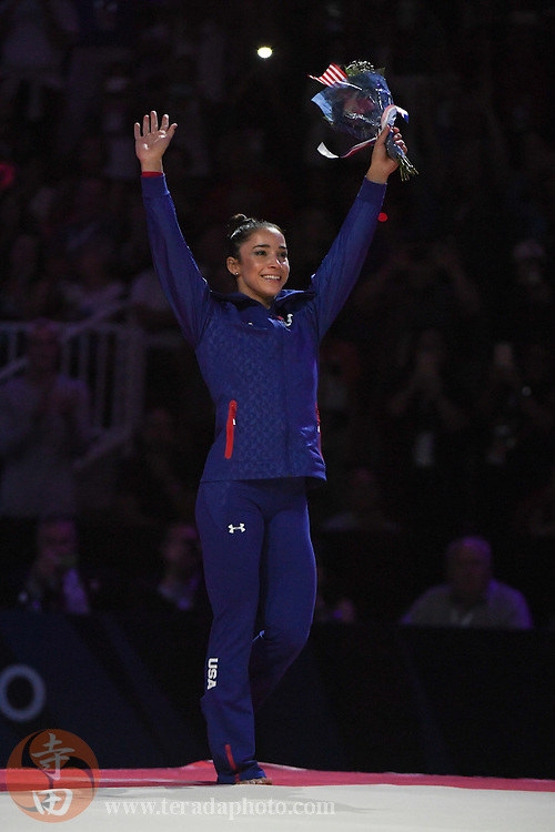 July 10, 2016; San Jose, CA, USA; Aly Raisman, Needham, MA, reacts after being named to the Olympic Team during the women's gymnastics U.S. Olympic team trials at SAP Center.