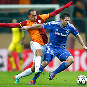 Chelsea's Umut Bulut (L) during their UEFA Champions League Round of 16 First leg soccer match Galatasaray between Chelsea at the AliSamiYen Spor Kompleksi in Istanbul, Turkey on Wednesday 26 February 2014. Photo by Aykut AKICI/TURKPIX