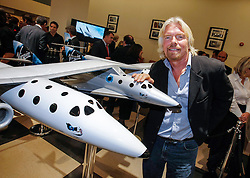 © Licensed to London News Pictures. 15/05/2008 London, UK. Farnborough, UK. File photo dated 15th May 2008. Sir Richard Branson during a photocall at Jack Barclay, Mayfair for the unveiling of the original designs for the  Virgin Galactic spacecraft. One pilot died and another was badly injured when a Virgin Galactic craft exploded in California's Mojave Desert. Photo credit : Simon Jacobs/LNP