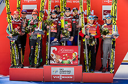 Second team: Markus Eisenbichler, Andreas Wellinger, Richard Freitag and Richard Freitag of Germany, winning team Anders Fannemel, Andreas Stjernen, Johann Andre Forfang and Robert Johansson of Norway  and third team of Poland: Kamil Stoch, Maciej Kot, Dawid Kubacki and Piotr Zyla celebrate at the trophy ceremony after the Ski Flying Hill Men's Team Competition at Day 3 of FIS Ski Jumping World Cup Final 2017, on March 25, 2017 in Planica, Slovenia. Photo by Vid Ponikvar / Sportida