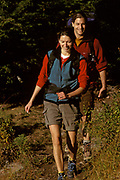 Couple on a hike in the woods