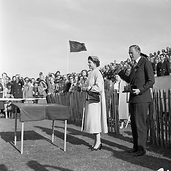 HM The Queen Elizabeth II and the Marquess of Douro (8th Duke of Wellington) presenting prizes at polo, Windsor Great Park in June 1955.