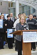 11/12/14 Jackson, MS. Photo by Suzi Altman<br /> The Campaign for Southern Equality -v- Bryant was argued in Federal Court in Jackson Mississippi for 6 hours in front of Judge Carlton Reeves. The plaintiffs argued for a preliminary injunction that would immediately strike down the state of Mississippi's current ban on same sex marriage. The plaintiffs  lead counsel is  Roberta Kaplan, who has successfully argued against the United States Supreme court in the historic case United States v-Windsor. That landmark case struck down sections of the Defense of Marriage Act (DOMA) and paved the way to marriage equality in the United States. The two couples who filed the historic suit in Mississippi and await the Judge's decision are Joce Pritchett and her wife Dr. Carla Webb, and Rebecca Bickett and her wife Andrea Sanders (they have 15 mo. old twin boys).  Joce and her partner also have two children. Judge Reeves is expected to rule in the next few days. The Campaign for Southern Equality-V-Bryant challenges the constitutionality of marriage laws in Mississippi. Currently the state bans same sex marriage and deny recognition of same sex couples marriages from out of state. The lawsuit was filed on October 20, 2014 on behalf of the two same sex couples and the Campaign for Southern Equality. Photo by Suzi Altman @suzialtman