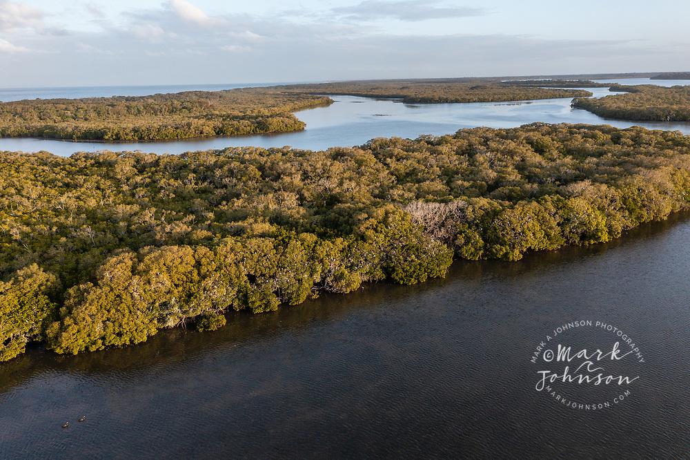 Aerial view of Pumicestone Passage, a waterway between Bribie Island and the mainland, Caloundra, Sunshine Coast, Queensland, Australia
