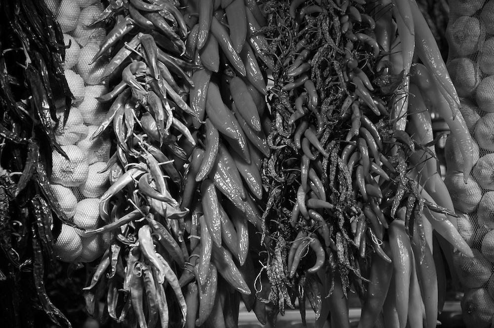 Chili store in the famous Boqueria market in Barcelona.