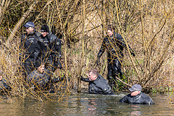 © Licensed to London News Pictures. 09/03/2021. London, UK. A specialist police diving unit search through thick reeds in ponds on Clapham Common this morning as the hunt for missing Londoner, Sarah Everad 33 continues. Sarah Everad from Brixton disappeared while walking home from a friend's house in Clapham and was last seen by CCTV around 9.30pm on Poynder's Road SW4 heading towards Tulse Hill. Photo credit: Alex Lentati/LNP