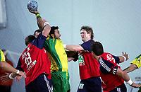 Håndball VM, Tunis 2005, Sousse 23/01-05, Norge - Brasil, Jan Thomas Luritsen og Jonny Jensen jobbet bra i forsvar, Foto: Sigbjørn Andreas Hofsmo, Digitalsport