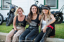 Iron Lilies Dana Cooley (L), Lilly James (middle) and Leticia Cline after a ride during Laconia Motorcycle Week 2016. NH, USA. Sunday, June 19, 2016.  Photography ©2016 Michael Lichter.