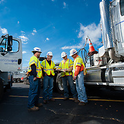 National Grid workers meet before driving to Long Island to provide repairs post Hurricane Sandy.