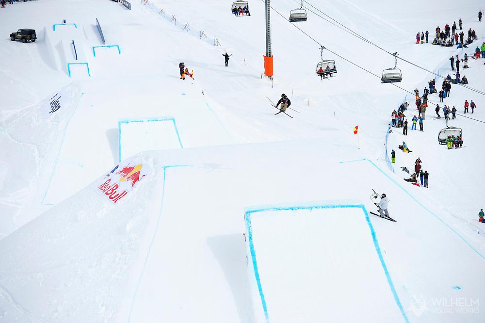 Sammy Carlson during Men's Ski Slopestyle Eliminations at the 2013 X Games Tignes in Tignes, France. ©Brett Wilhelm/ESPN