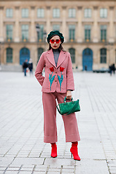 Street style, Karina Nigay arriving at Ulyana Sergeenko Spring-Summer 2018 Haute Couture presentation held at Place Vendome, in Paris, France, on January 23rd, 2018. Photo by Marie-Paola Bertrand-Hillion/ABACAPRESS.COM
