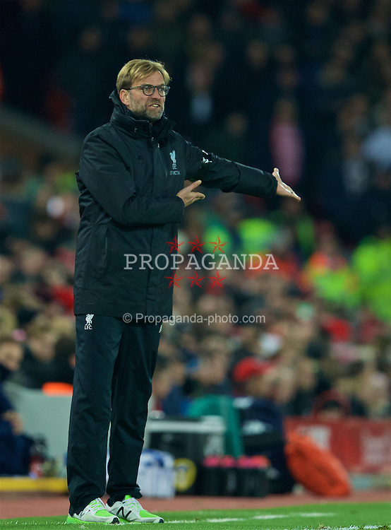 LIVERPOOL, ENGLAND - Tuesday, November 29, 2016: Liverpool's manager Jürgen Klopp during the Football League Cup Quarter-Final match against Leeds United at Anfield. (Pic by David Rawcliffe/Propaganda)
