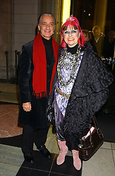 Fashion designers DAVID SASSOON and ZANDRA RHODES at a reception to celebrate the opening of Anna Piaggi Fashion-ology and Popaganda: The Fashion and Style of JC de Castelbajac at the V&A Museum, London on 31st January 2006.<br /><br />NON EXCLUSIVE - WORLD RIGHTS