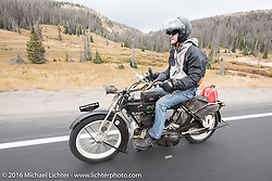 Hans Coertse of South Africa riding his 976c twin cylinder 1913 Matchless Model 5B Motorcycle up Wolf Creek pass during the Motorcycle Cannonball Race of the Century. Stage-10 ride from Pueblo, CO to Durango, CO. USA. Tuesday September 20, 2016. Photography ©2016 Michael Lichter.