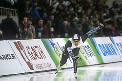 March 9, 2019 - Salt Lake City, Utah, USA - Yuma Murakami  of Japan competes in the 500m speed skating finals at the ISU World Cup at the Olympic Oval in Salt Lake City, Utah. (Credit Image: © Natalie Behring/ZUMA Wire)