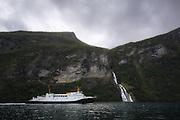 The ferry Veøy, owned by Fjord1, sails between Geiranger and Hellesylt in the beautiful Geirangerfjord, Norway | Ferga Veøy som seiler mellom Geiranger og Hellesylt.