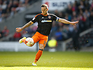 Billy Sharp of Sheffield Utd scores his first of the match and his 200th goal for the Blades during the English League One match at  Stadium MK, Milton Keynes. Picture date: April 22nd 2017. Pic credit should read: Simon Bellis/Sportimage