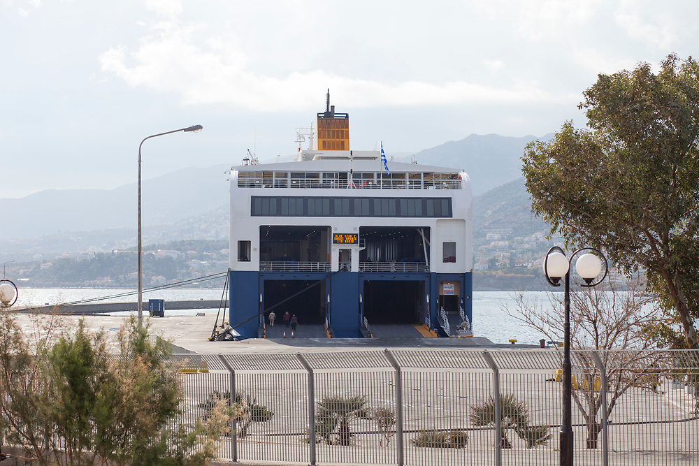 ferry is docking in the harbor of Mytilene, Lesvos. It was the main way of transportation to the mainland for the thousands of migrants and refugees that came to the island. They cannot leave Lesvos, many of them wait for their status to be determined for most the Island is their final station, a dead end.