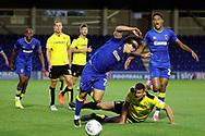 AFC Wimbledon striker Egli Kaja (21) getting fouled during the Pre-Season Friendly match between AFC Wimbledon and Burton Albion at the Cherry Red Records Stadium, Kingston, England on 21 July 2017. Photo by Matthew Redman.