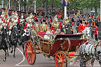 LONDON - JUNE 05: The Queen; Charles Prince of Wales and Camilla Duchess of Cornwall, The Queen's Diamond Jubilee Royal carriage procession, The Mall, London, UK. June 05, 2012. (Photo by Richard Goldschmidt)