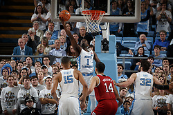 CHAPEL HILL, NC - JANUARY 27: Theo Pinson #1 of the North Carolina Tar Heels scores against the North Carolina State Wolfpack on January 27, 2018 at the Dean Smith Center in Chapel Hill, North Carolina. North Carolina lost 95-91. (Photo by Peyton Williams/UNC/Getty Images) *** Local Caption *** Theo Pinson