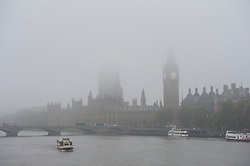 © London News Pictures. 22/10/2012. London, UK.  Fog covered Houses of Parliament on next to the River Thames in Westminster, central London on October 22, 2012 . Photo credit: Ben Cawthra/LNP