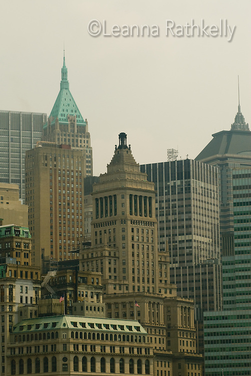 The skyline of Manhattan in July 2008 as seen from Battery Park, New York City, USA