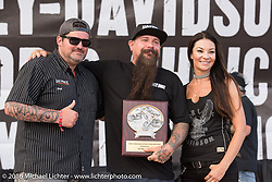 Jeff Holt gives out an award at the Harley-Davidson Editors Choice Custom Bike Show during the annual Sturgis Black Hills Motorcycle Rally. SD, USA. August 9, 2016. Photography ©2016 Michael Lichter.
