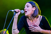Henham Park, Suffolk, 20 July 2019. Nadine Shah plays the BBC Sounds Stage. The 2019 Latitude Festival.