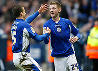 Photo: Steve Bond/Richard Lane Photography. Leicester City v Scunthorpe United. Coca Cola Championship. 13/02/2010. Paul Gallagher (R) is congratulated on his 2nd