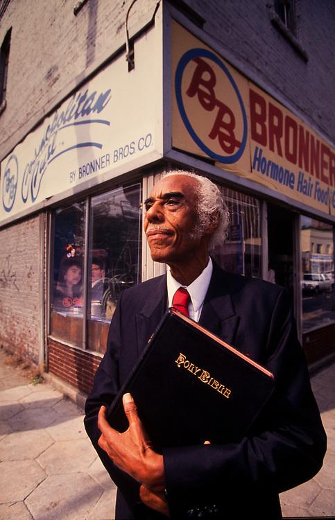 Nathaniel Bronner of Bronner Brothers Cosmetics at his Auburn Avenue store in Atlanta, Georgia Nathaniel Bronner (with A.E. Bronner) founder of Bronner Bros. Cosmetics outside his store on Auburn Avenue in Atlanta, GA
