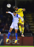 Liam Sercombe (7) of Bristol Rovers challenges for a header with Tom Soares (19) of AFC Wimbledon during the EFL Sky Bet League 1 match between Bristol Rovers and AFC Wimbledon at the Memorial Stadium, Bristol, England on 23 October 2018.