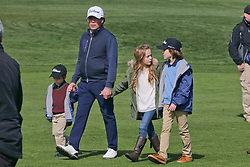 """Feb 6, 2019 Pebble Beach, Ca. USA TV, Film and singing stars that included Country singer, CLAY WALKER ther with his kids and 2nd Wife, JESSICA CRAIG whom played in the """"3M Celebrity Challenge"""" to try for part of the 100K purse to go to their favorite charity and win the Estwood-Murray cup, for which team Clint Eastwwod's group won.. The event took place during practice day of the PGA AT&T National Pro-Am golf on the Pebble Beach Golf Links. Photo by Dane Andrew c. 2019 contact: 408 744-9017  TenPressMedia@gmail.com"""