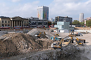 The changing urban landscape during the ongoing clearance of the site of the former Elephant & Castle shopping centre which is being demolished and redeveloped in south London, on 19th October 2021, in London, England. The much-criticised architecture of the Elephant & Castle Shopping Centre was opened in 1965, built on the bomb damaged site of the former Elephant & Castle Estate, originally constructed in 1898. The centre was home to restaurants, clothing retailers, fast food businesses and clubs where south Londoners socialised and met lifelong partners