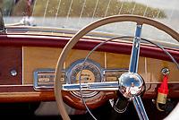 "Steve and Diane Clark take a cruise on Lake Winnipesaukee in their 19' 1949 Century ""Maiden '49"".  ©2018 Karen Bobotas Photographer"