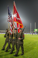 US Soldiers of the 2nd Regiment Marines after the ceremony of bringing the flags of Romania and the United States before rugby test match, on National Stadium Arc de Triomphe in Bucharest, November 8, 2014. This was the first time that the game between the USA and Romania had a special trophy - the Pershing Cup. The trophy is named after General John Pershing, who led the US Expeditionary Force during World War I. It was under the patronage of Pershing that the first USA v Romania rugby game was ever played, in Paris in 1919 in the Inter-Allied Games. That year Pershing was named General of the Armies of the United States - only he and George Washington (who received the promotion posthumously) have ever earned that rank.